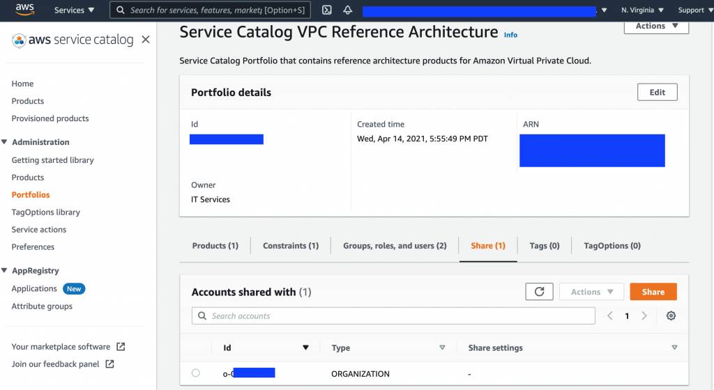 The AWS Service Catalog VPC Architecture page displays portfolio details like ID, owner, created time, and ARN. Under Accounts shared with, there is an entry for an account with a Type of ORGANIZATION.