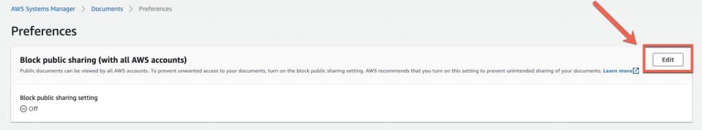 On the Preferences page, the Block public sharing setting is Off.