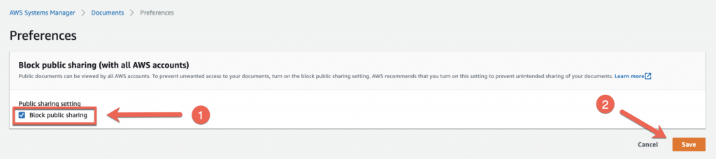 In the Block public sharing (with all AWS accounts) section, the Block public sharing checkbox is selected.