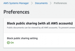 On the Preferences page, the Block public sharing setting is On.