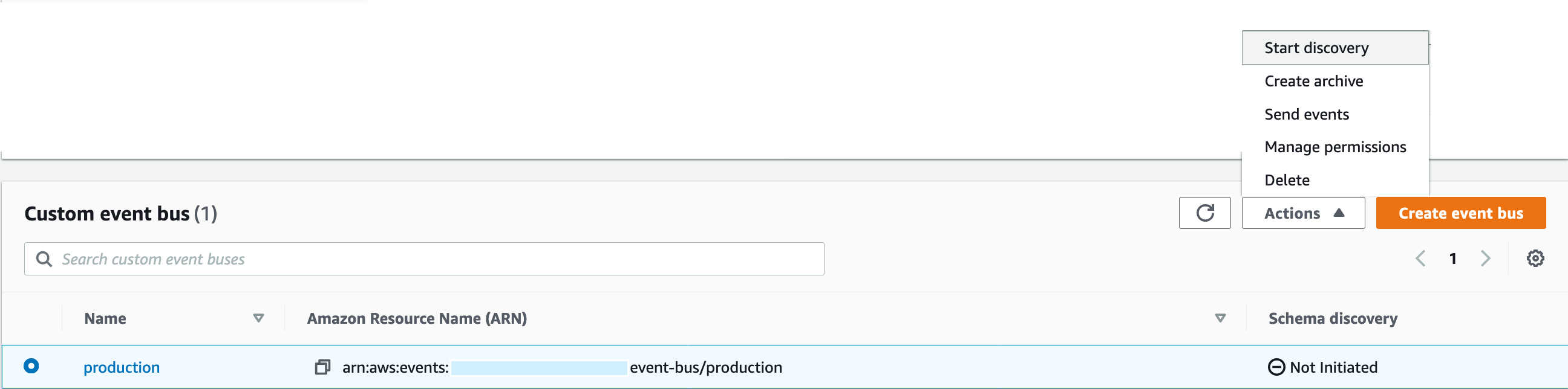 Custom event bus displays the production event bus and its ARN. Under Schema discovery, Not initiated is displayed.