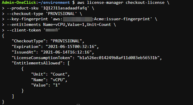 The CheckoutLicense API action uses the key fingerprint from the GetLicense API action as input.