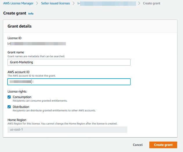 In Grant details, Grant-Marketing is entered for the grant name. Under License rights, the Consumption and Distribution check boxes are selected.