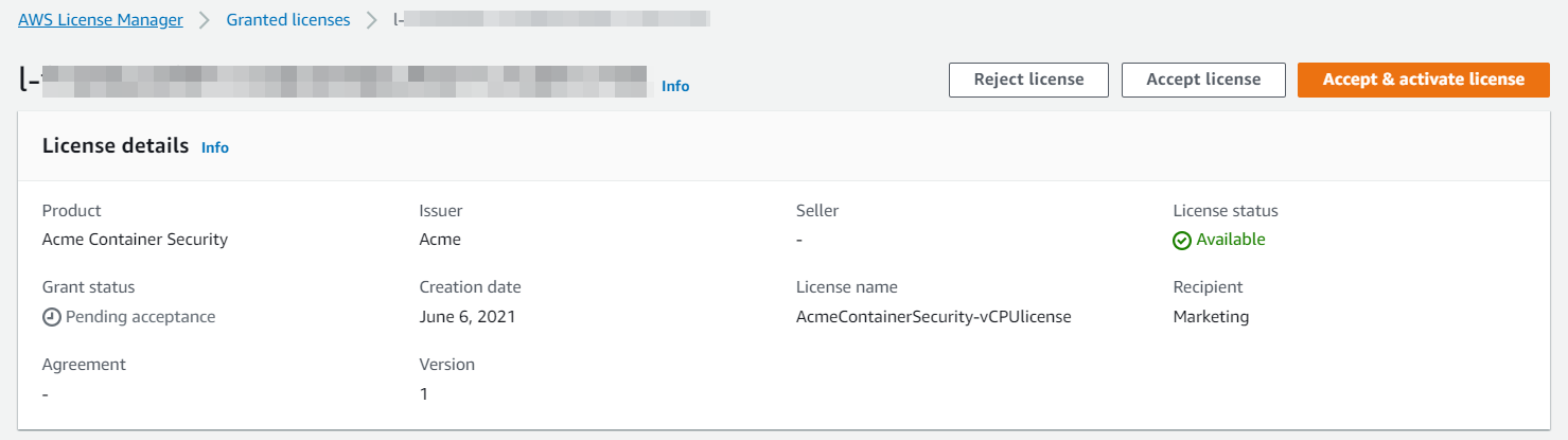 The license details include the product (in this example, Acme Container Security), grant status (Pending acceptance), issuer (Acme), creation date (June 6, 2021), version (1), seller, license name, license status (Available), and recipient (Marketing).