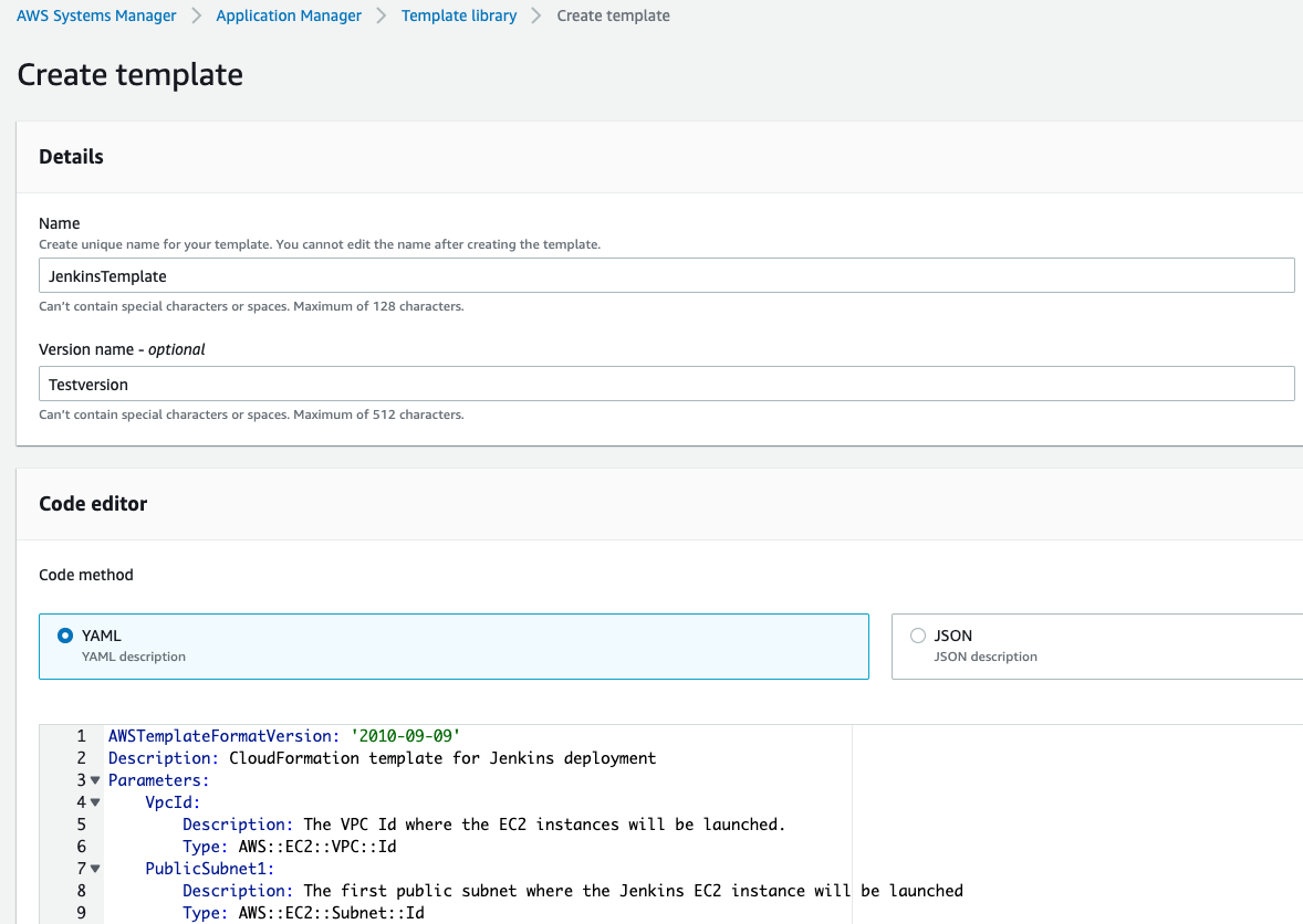 The Details section of Create template is completed as described in the post. In Code editor, under Code method, YAML is selected and the content of the CloudFormation template for Jenkins deployment is displayed.