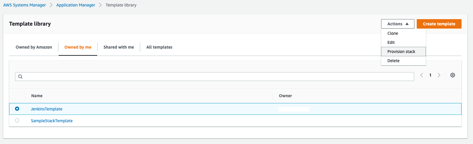 On the Template library page, the Owned by me tab is selected and Provision stack is highlighted in the Actions list. The JenkinsTemplate is selected.