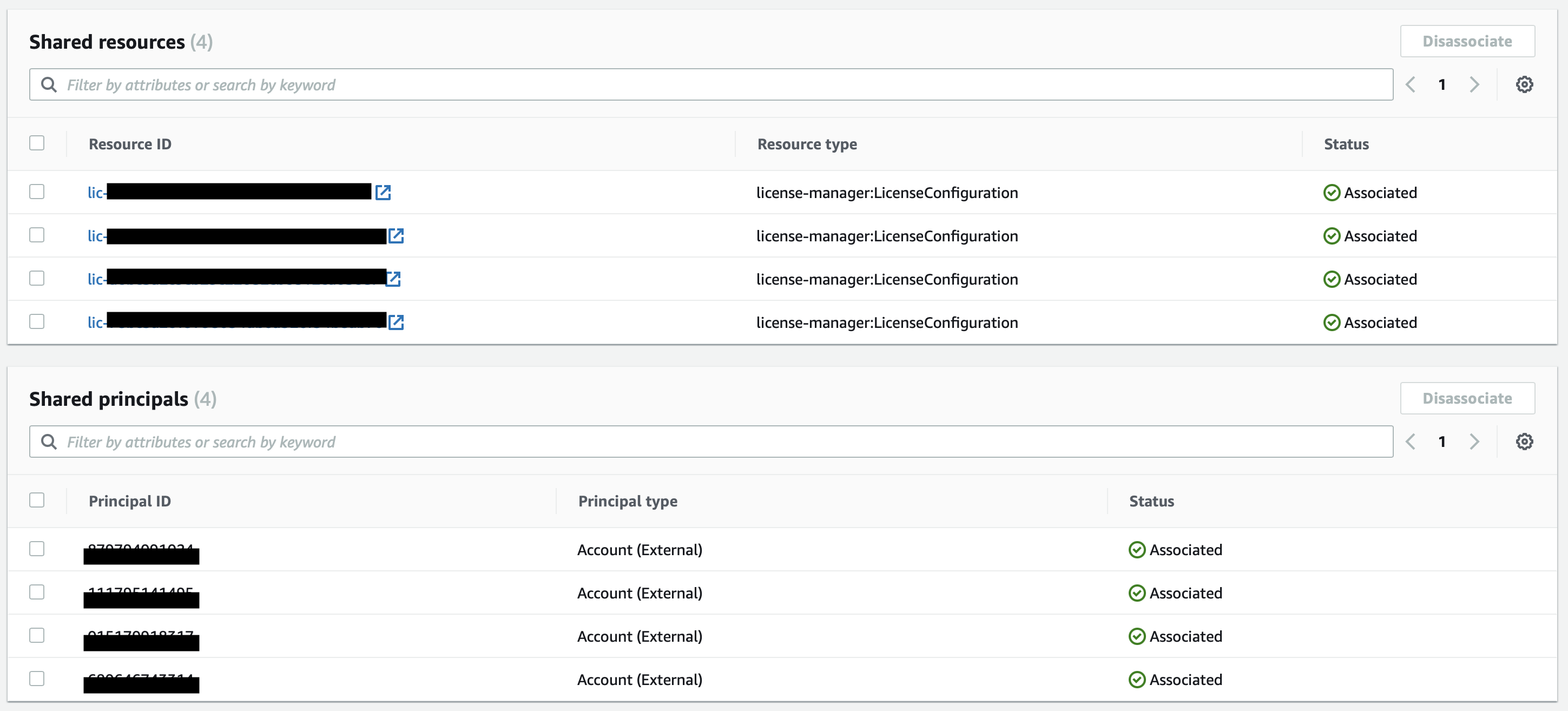 The AWS Resource Access Manager console displays shared resources and shared principals in lists organized by ID, type, and status.