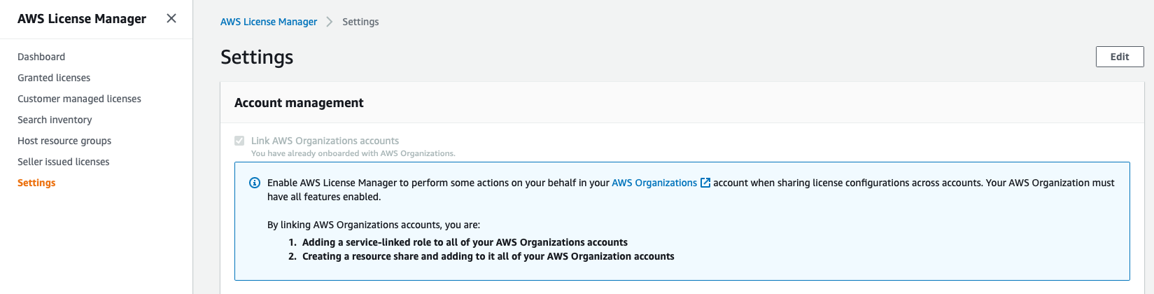 On the Settings page, under Account management, the Link AWS Organizations accounts checkbox is selected.