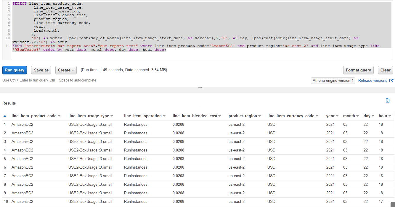 The columns under Results are line_item_product_code, line_item_usage_type, line_item_operation, line_item_blended_cost, product_region, line_item_currency_code, year, month, day, and hour.