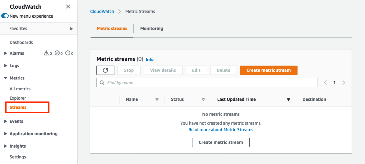 In the left navigation pane, Metrics is expanded to display entries for Explorer and Streams. The Streams page displays a Create metric stream button.