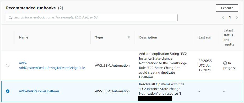 Under Recommended runbooks, AWS-BulkResolveOpsItems is selected.