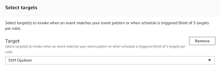 The fields for the EventBridge rule are set as described in the post.