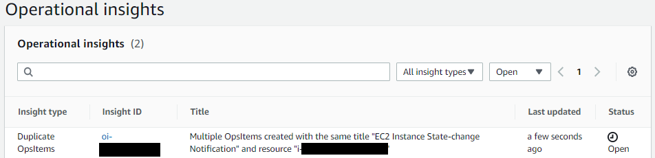 On Operational insights, there are table columns for insight type (in this example, Duplicate OpsItem), ID, title, last updated date, and status.