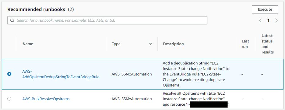 Under Recommended runbooks, AWS-AddOpsItemDedupStringToEventBridgeRule is selected.