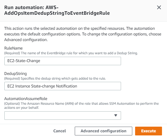 The RuleName value is EC2-State-Change. The DedupString value is EC2 Instance State-change Notification.