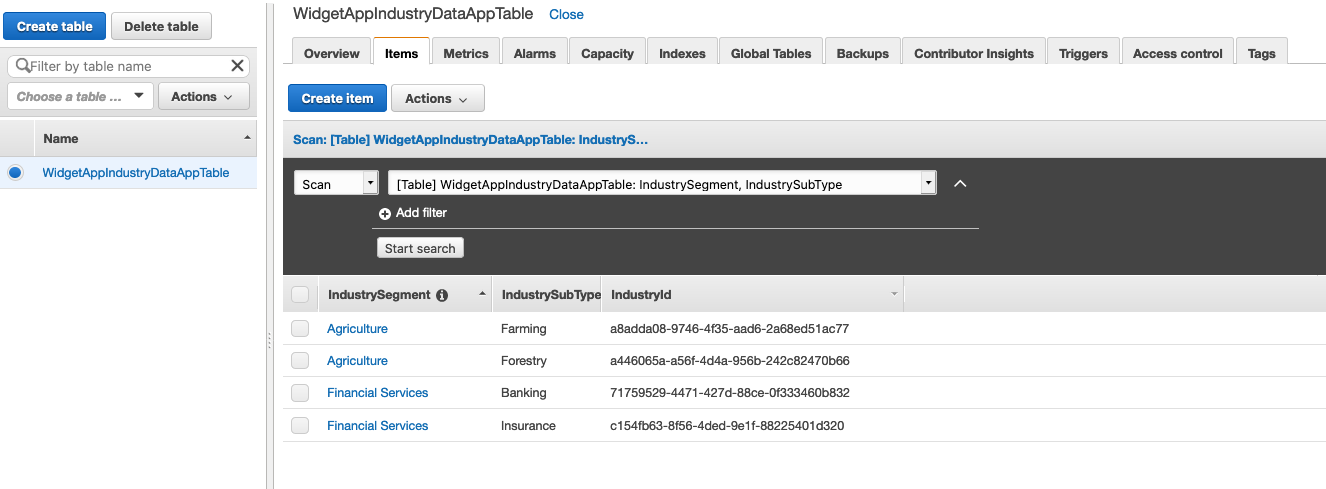 On the WidgetAppIndustryDataAppTable page, the Items tab is selected. There are columns for IndustrySegment, IndustrySubType, and IdustryId.