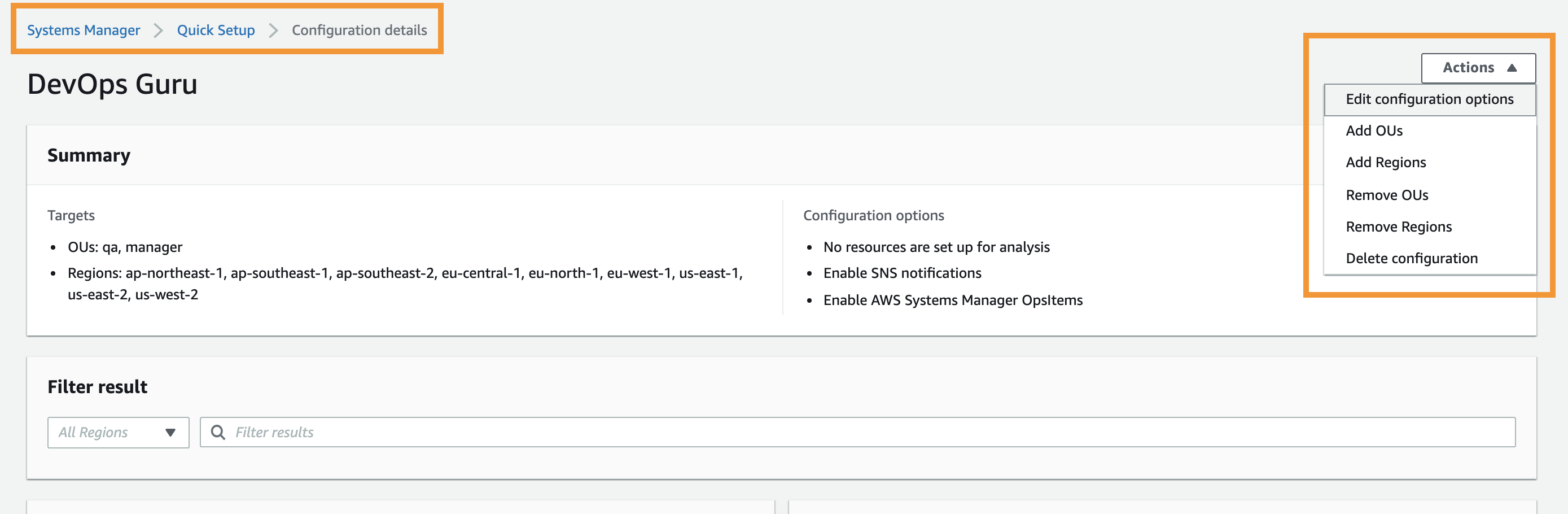 The Configuration details page displays a summary of the target OUs and regions. It also displays the configuration options you have chosen when you created the configuration. From this page, you can edit the configuration by editing the target OUs and regions
