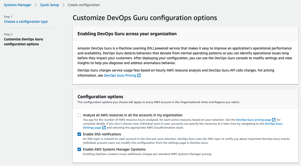 The Configuration options section displays options to select whether you want Quick Setup to enable SNS notifications and Systems Manager OpsItems