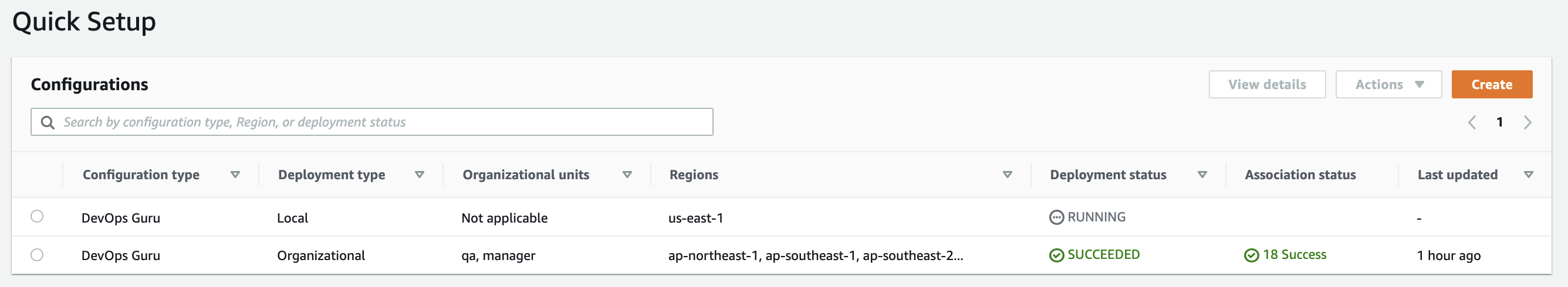 On the Quick Setup console, you can visualize a list of all the configurations you have created, including information about the configuration type, OUs, regions, and deployment status