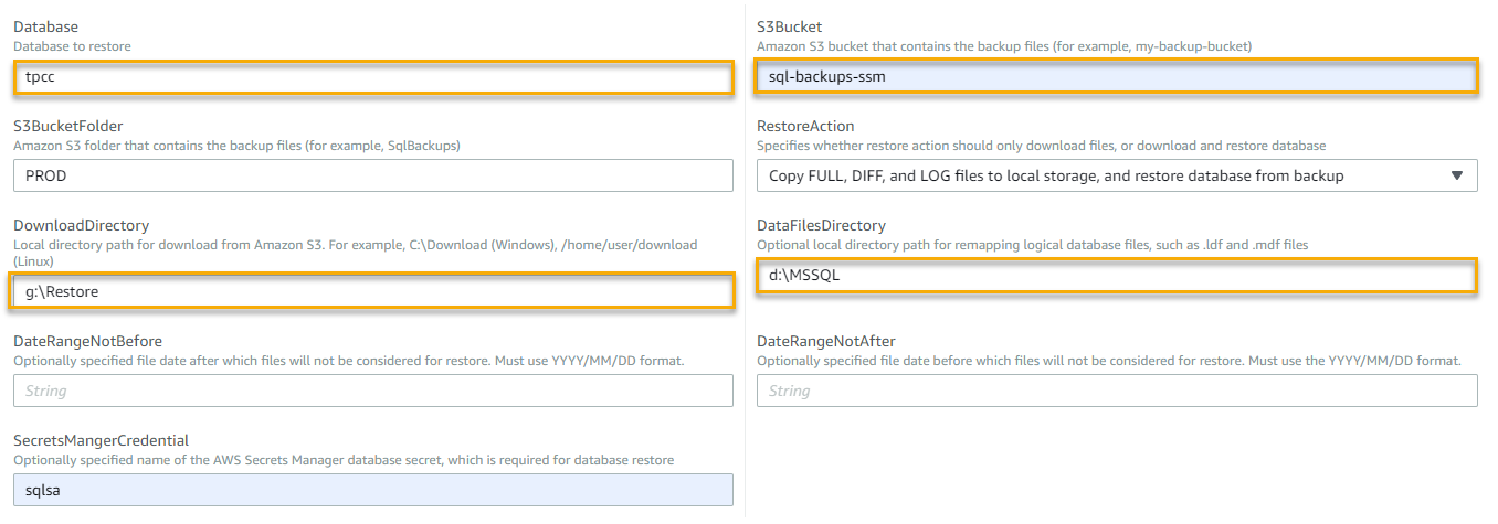 The Database, DownloadDirectory, S3Bucket, and DataFilesDirectory fields are highlighted. For Database, tpcc is entered. For S3Bucket, sql-backups-ssm is entered. For DownloadDirectory, g:\Restore is entered. For DataFilesDirectory, d:\MSSQL is entered.