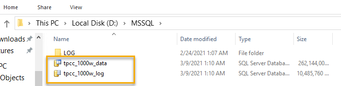 In Windows Explorer, the data and log files appear in d:\MSSQL\LOG.