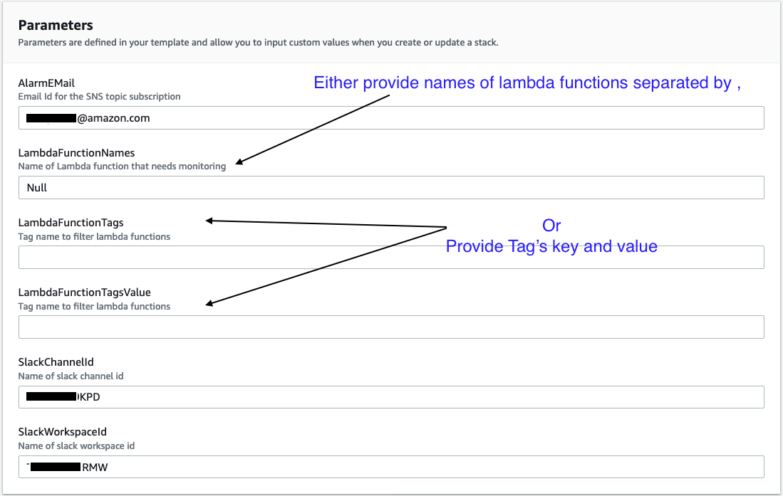 Parameter screen for cloudformation shows parameters to enter. You can either provide names of lambda functions separated by a comma in the LambdaFuctionNames parameter or you can provide Tag's key and value in the LambdaFunctionTags and LambdaFunctionTagsValue parameters respectively.