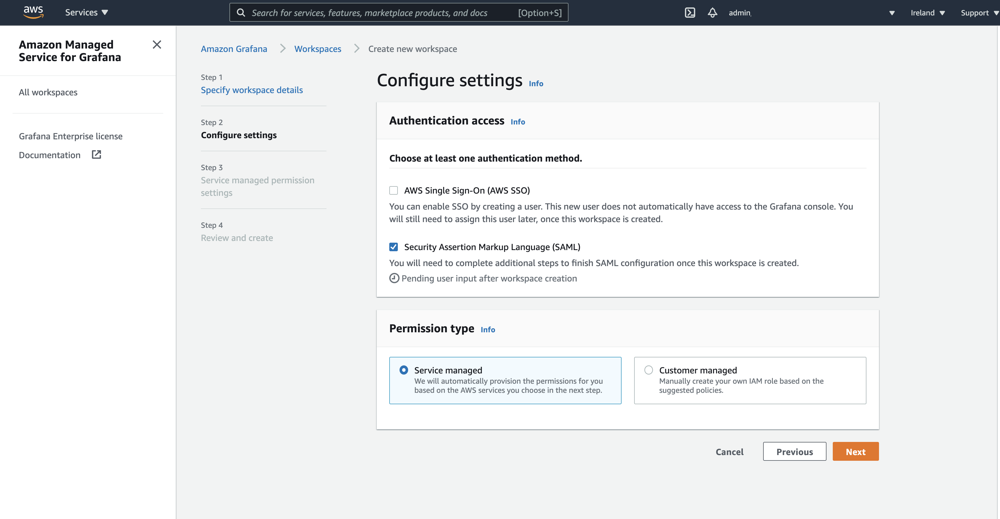 The Configure settings page displays two options for authentication method: AWS SSO and SAML.