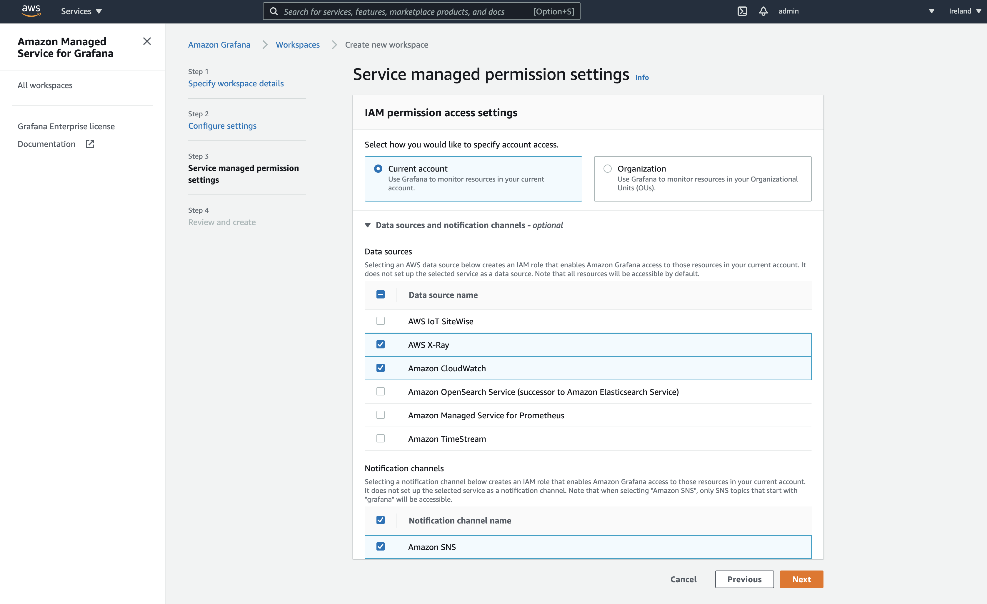 Service managed permission settings displays two options for specifying account access: Current account and Organization). Under Data sources, AWS IoT SiteWise, AWS X-Ray, Amazon CloudWatch, Amazon TimeStream, and other AWS services are selected.