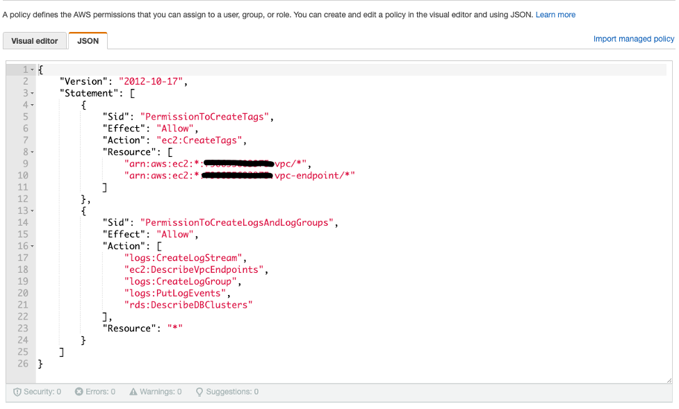The permissions are pasted into the JSON editor in the IAM console.