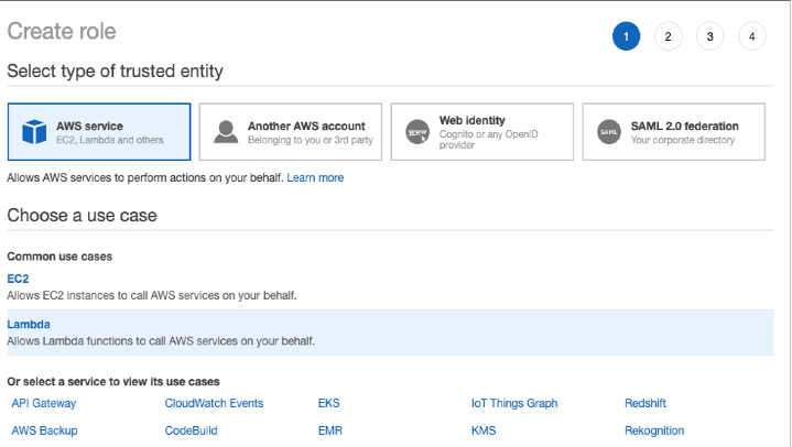 On Create role, under Select type of trusted entity, AWS service is selected. Under Choose a use case, Lambda is selected. This allows Lambda functions to call AWS services on your behalf.