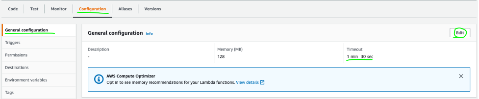 In the Lambda console, there are tabs for Code, Test, Monitor, Configuration, Aliases, and Versions. The Configuration tab is selected and the Edit button is highlighted.
