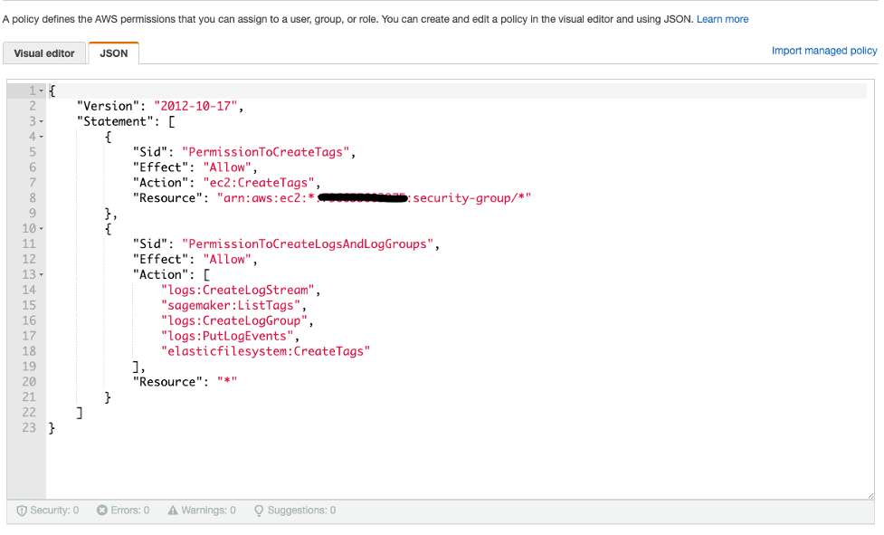 The permissions for creating tags for SageMaker resources are pasted into the JSON editor in the IAM console.