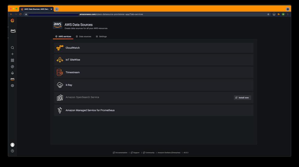 List of AWS datasources on Amazon Managed Grafana