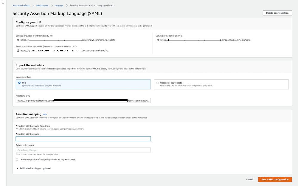 SAML metadata configuration in Amazon Managed Grafana