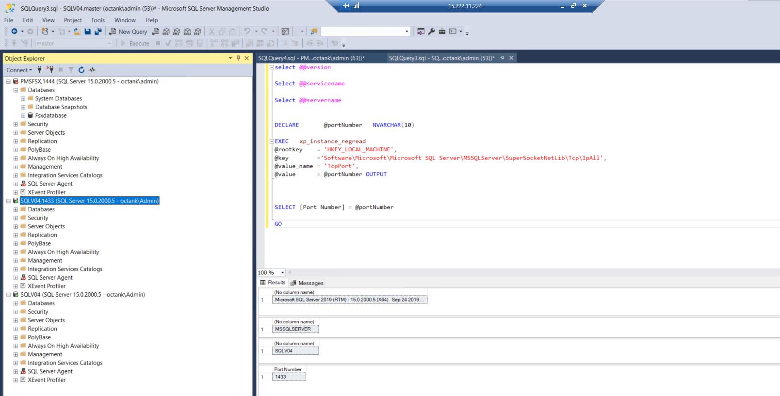 In SQL Server Management Studio, the displayed version is Microsoft SQL Server 2019 (RTM). The port number is 1433.