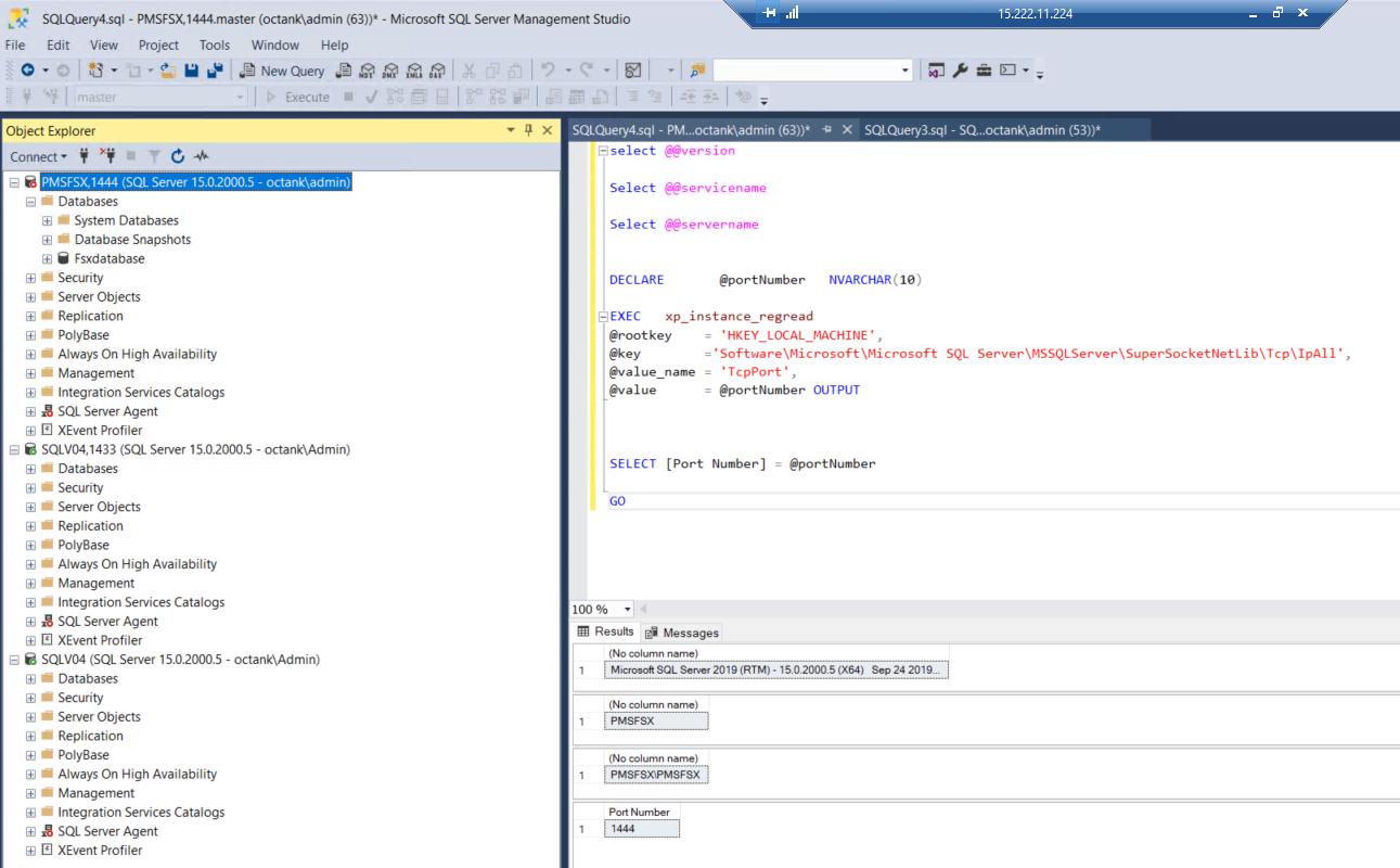 In SQL Server Management Studio, the displayed version is Microsoft SQL Server 2019 (RTM). The port number is 1444.