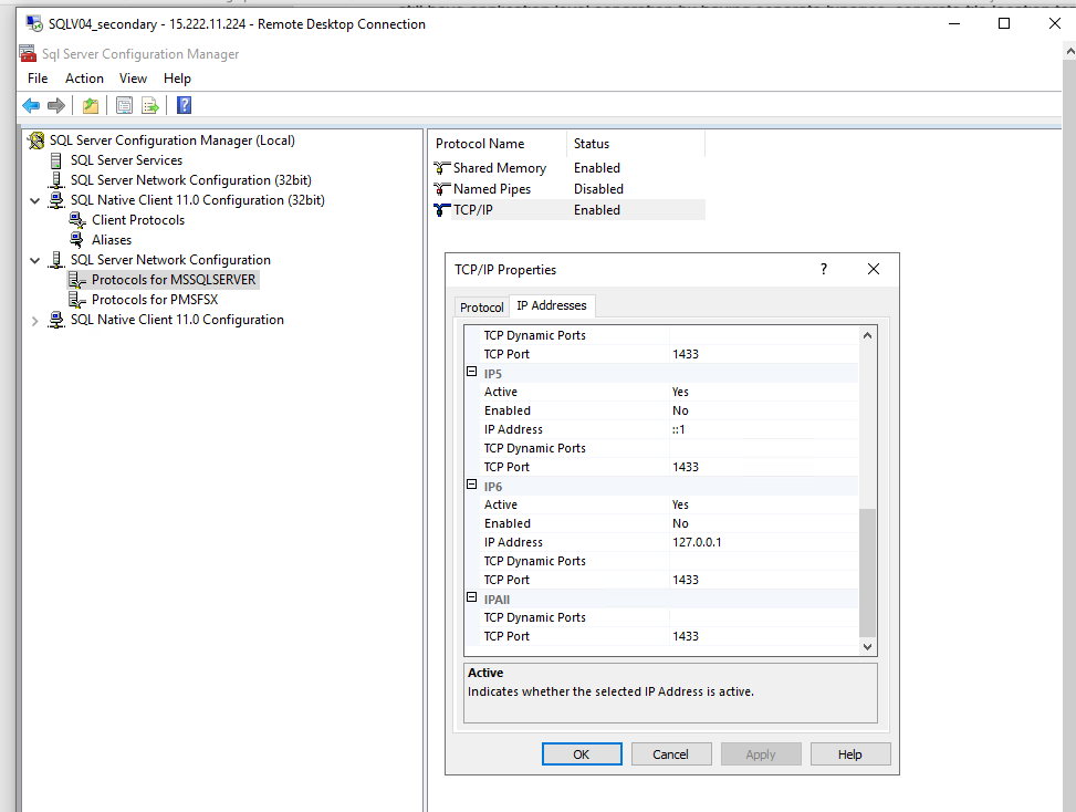 In SQL Server Network Configuration, Protocols for MSSQLSERVER is selected. In the TCP/IP Properties dialog box, the TCP port is 1433.