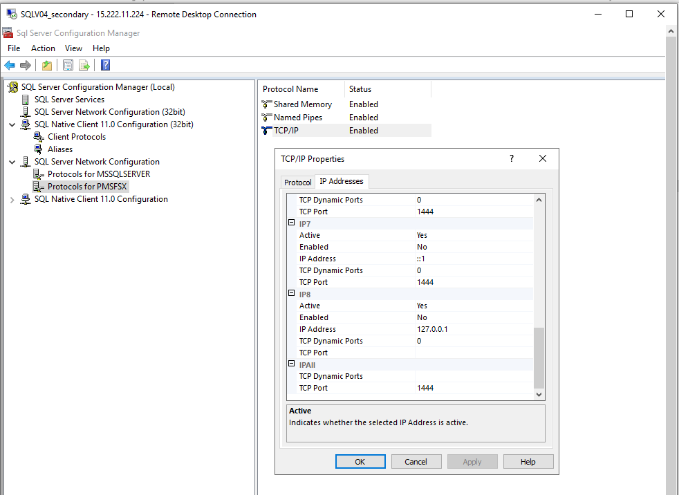In SQL Server Network Configuration, Protocols for PSMFSX is selected. In the TCP/IP Properties dialog box, the TCP port is 1444.