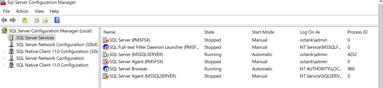 In SQL Server Configuration Manager, SQL Server Services is selected. The right pane displays a list of service, their state (Stopped or Running), start mode (Manual or Automatic), log on as, and process ID.