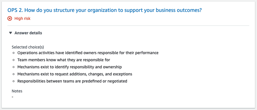The OPS 2 question is How do you structure your organization to support your business outcomes? Answer details section is expanded to show a bulleted list.