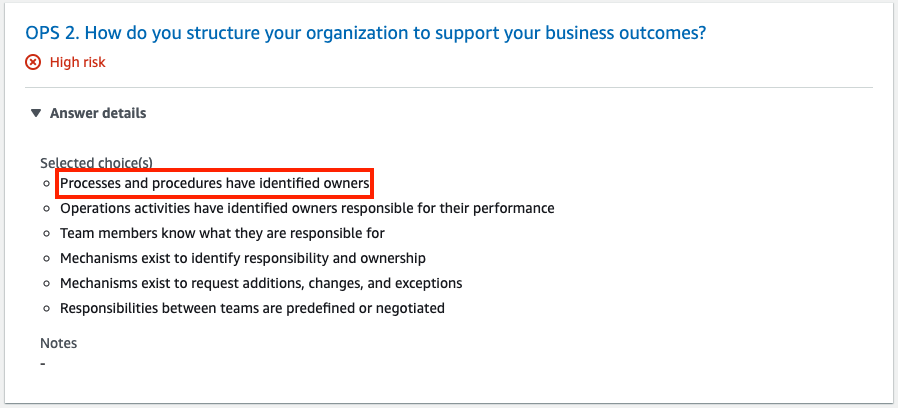 For question OPS 2, the new best practice appears under Selected choice(s).