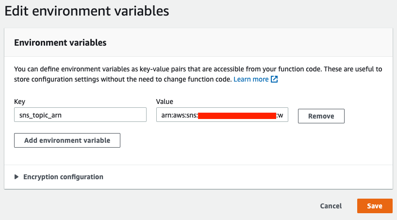 The fields in Edit environment variables are completed as described in the post.