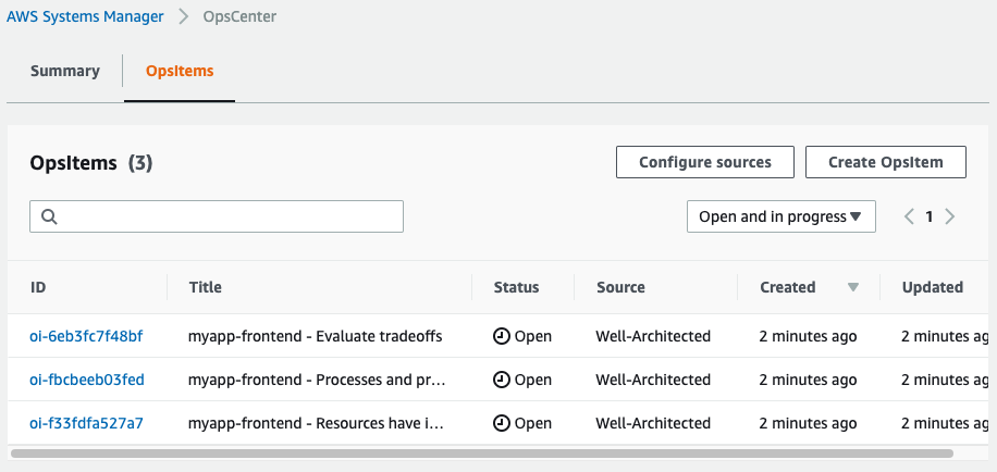The OpsItems created by the solution are displayed in a table organized by ID, title, status (in this example, Open), source (in this example, Well-Architected), created, and updated.