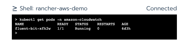 Validation of Fluent Bit pod existence using kubectl command from shell window.
