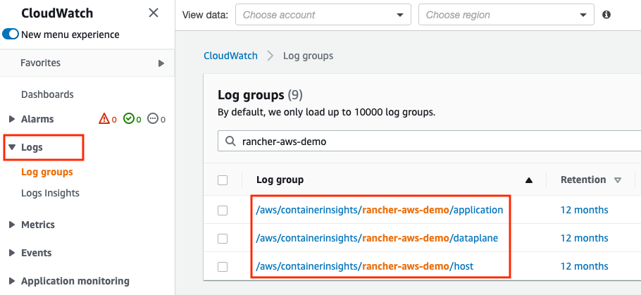 Validation of Fluent Bit log groups existence from the CloudWatch console.