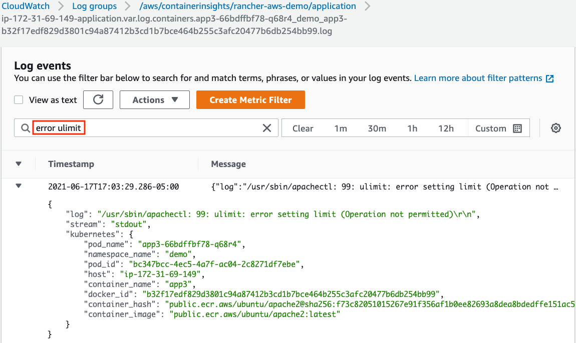 Search and filtering of log data by creating metric filters on CloudWatch Log Event screen.