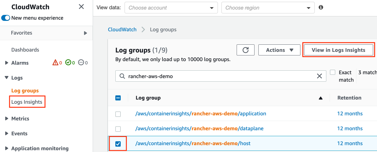 CloudWatch console has the navigation menu under Logs section and View in Logs Insights button to open Logs Insights screen.