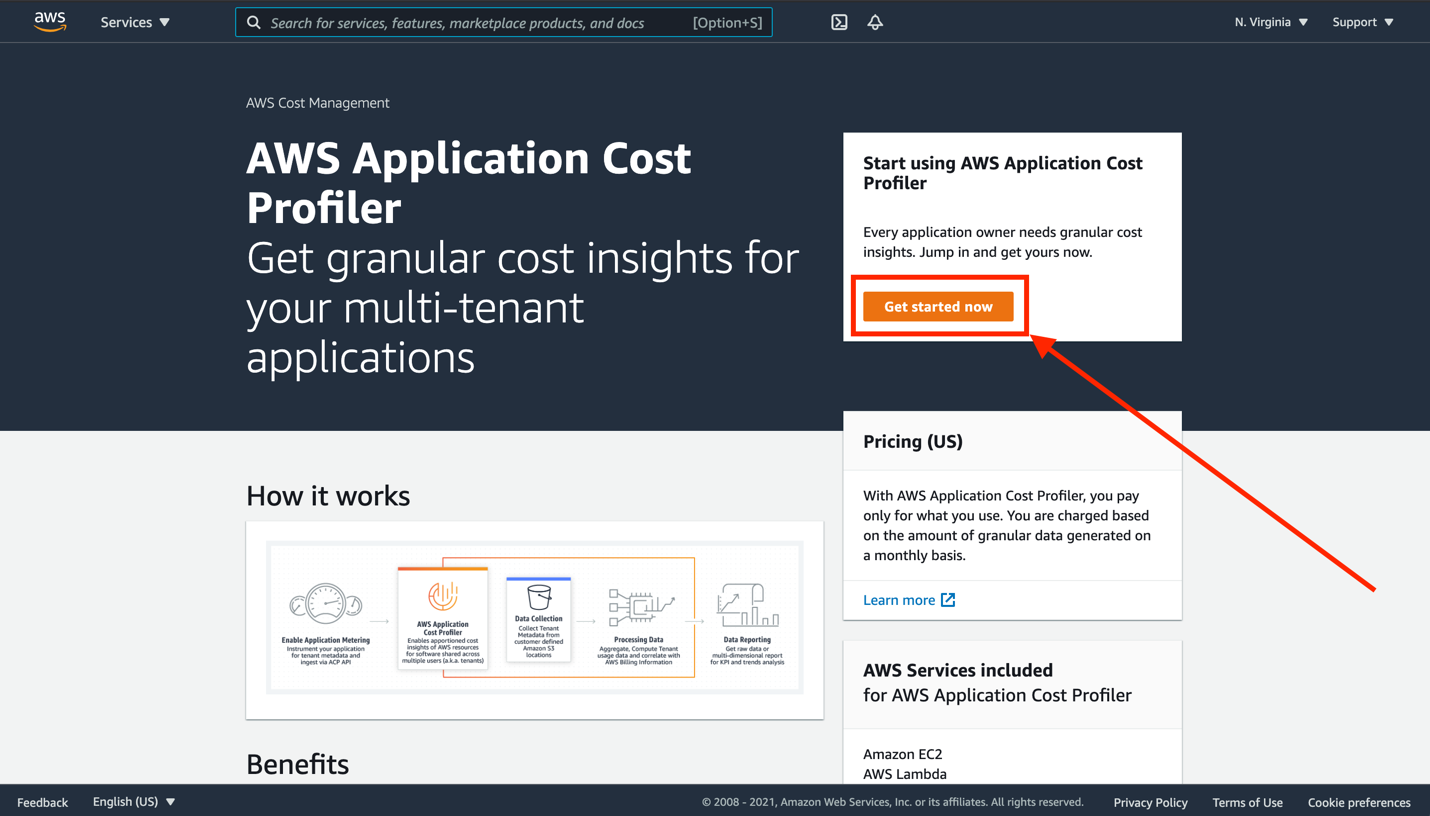 Screen shot of AWS Application Cost Profiler console with Get started now button highlighted
