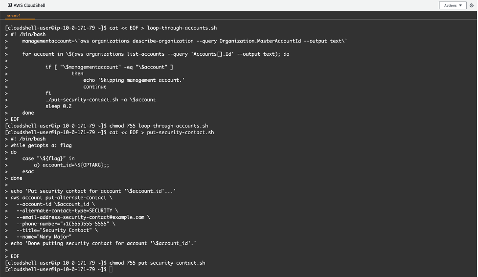 Snapshot showing the loading of the CLI scripts into the AWS Cloudshell