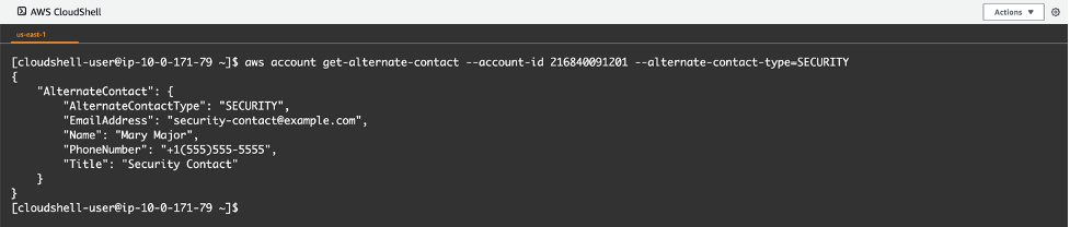 CloudShell snapshot verifying if the alternate contact has been updated